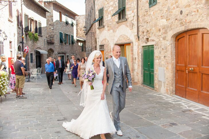 Bride and Groom Walking Through Tuscany