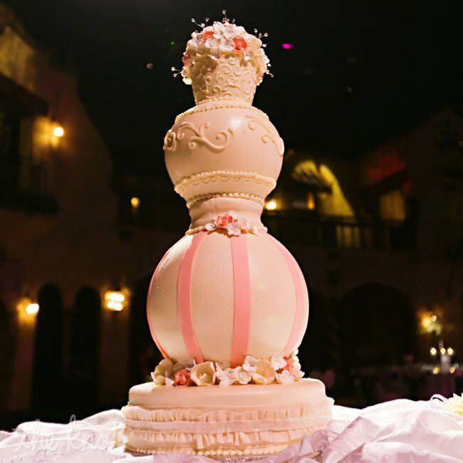Pink And White Sphere Tiered Cake - Sphere Wedding Cake