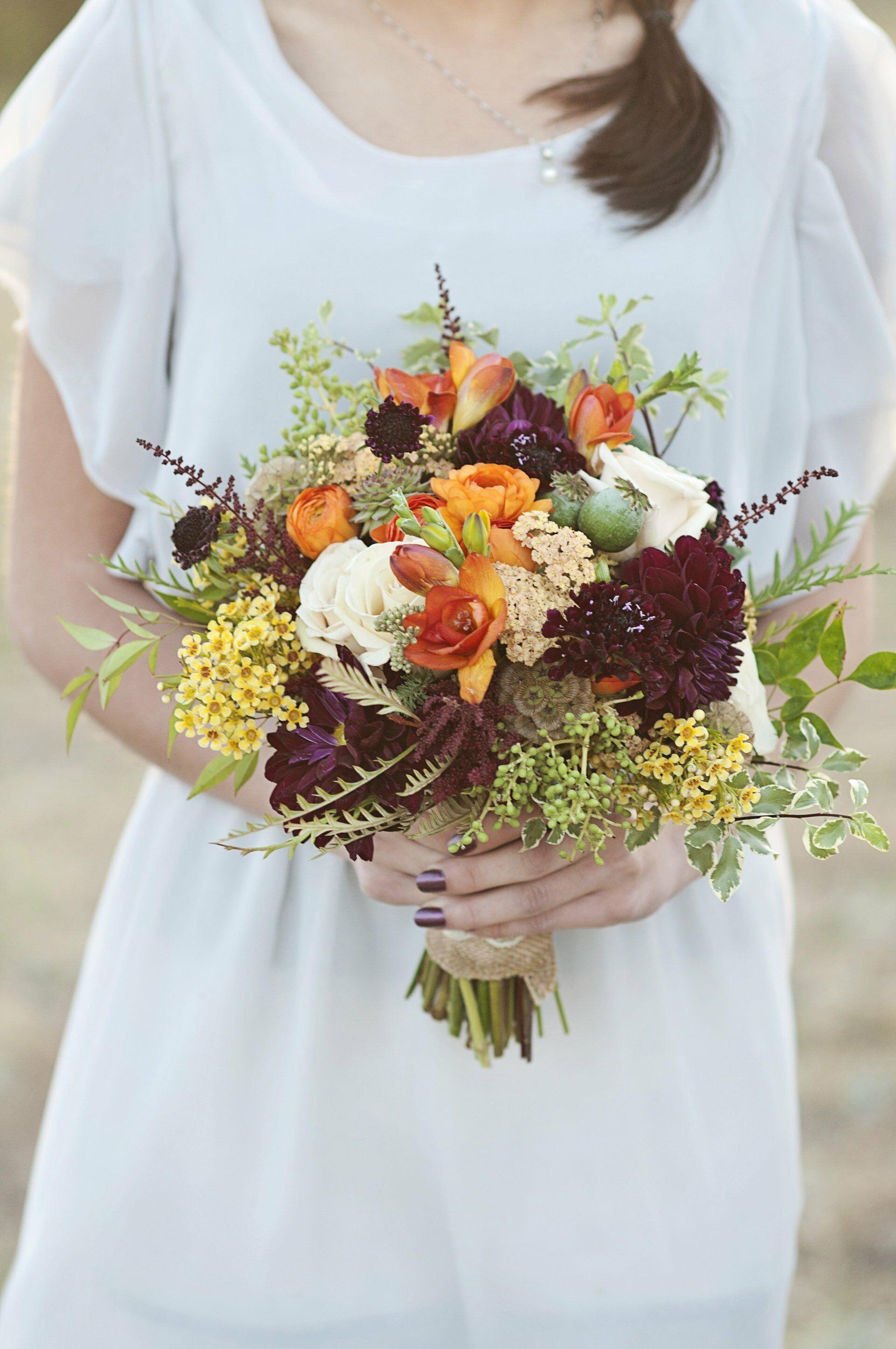 Fall Color Bridesmaid Bouquets