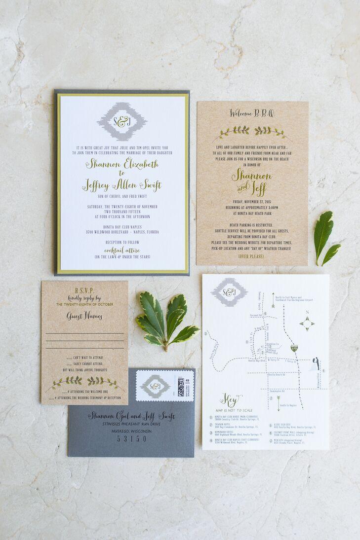 Rustic Fern and Kraft Paper Invitations