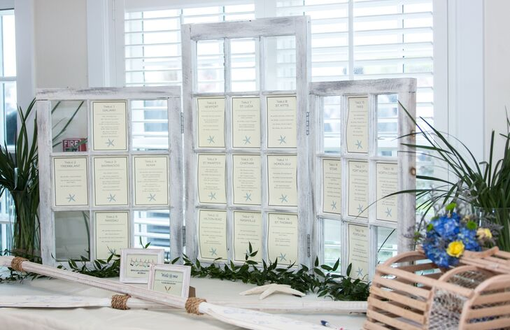 White Wooden Window Frame Seating Chart Display