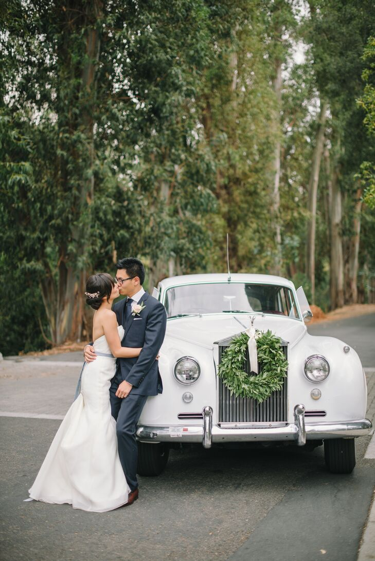 """Each wedding party drove themselves to the ceremony, but we arranged for a white Silver Cloud Rolls-Royce to drive my freshly married husband and me from the church to Villa Montalvo,"" Jauchy says. ""I had never been one to daydream about my wedding, but this elegant car felt like a fantasy come true."""
