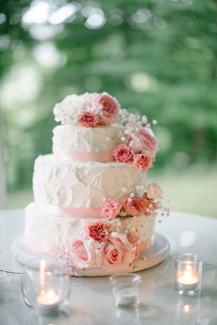 Cascading Pink Carnation Wedding Cake Decor