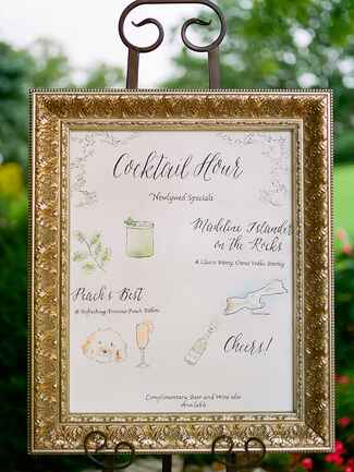 Cute framed cocktail sign idea with illustrations for a cocktail hour