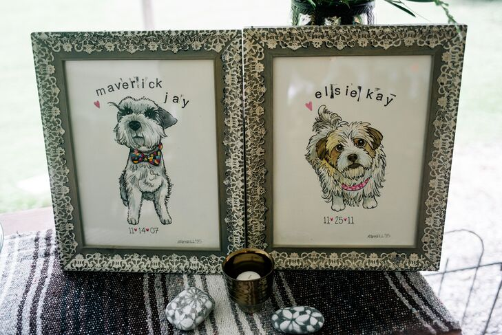 Even before they got engaged, Gina and Mike's pets were part of their relationship. So it was no surprise that the couple incorporated Maverick Jay, left, and Elsie Kay into the reception decor. A custom illustration of each pet highlighted their dessert table in a vintage-style olive frame.
