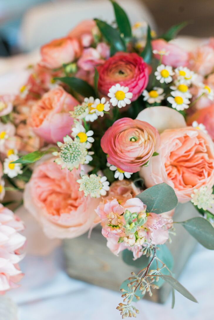 Pink Floral Centerpiece with Peonies and Garden Roses