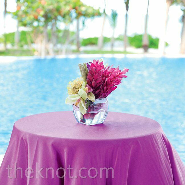 Small tropical purple centerpiece