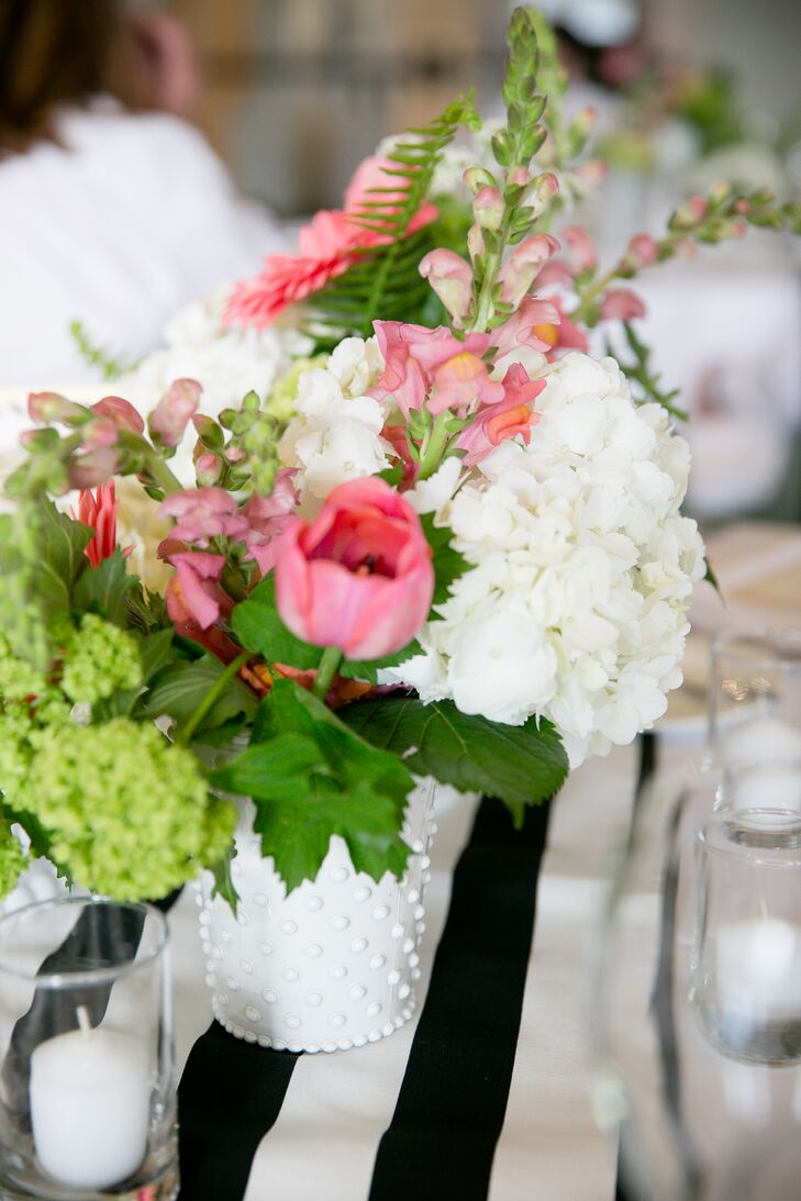 Pink White Green Flowers Milk Glass Centerpieces