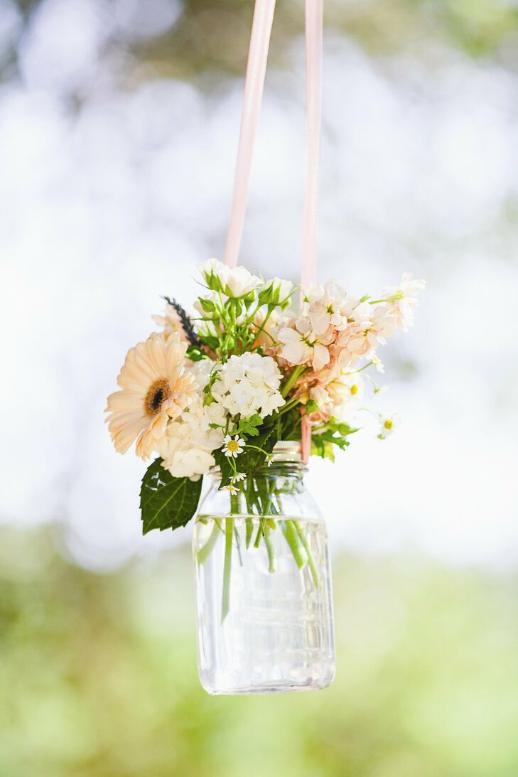 Hanging Mason Jar Floral Decor
