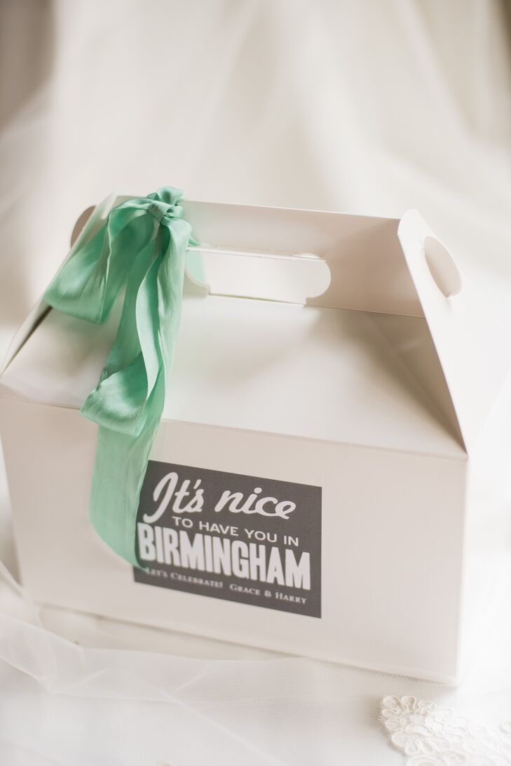 Custom Gray and Mint Welcome Boxes