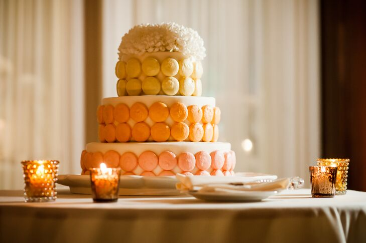 Each layer of the cake was decorated with delicious macaroons.