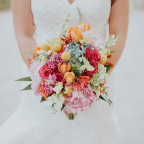 Summer wedding flower arrangements colorful tulips craspedia and peony bouquet junglespirit Gallery