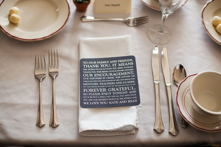 The couple left heartfelt thank-you cards on the place settings.