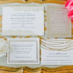 white invitations with gold glamorous design - Wedding Invitations Gold