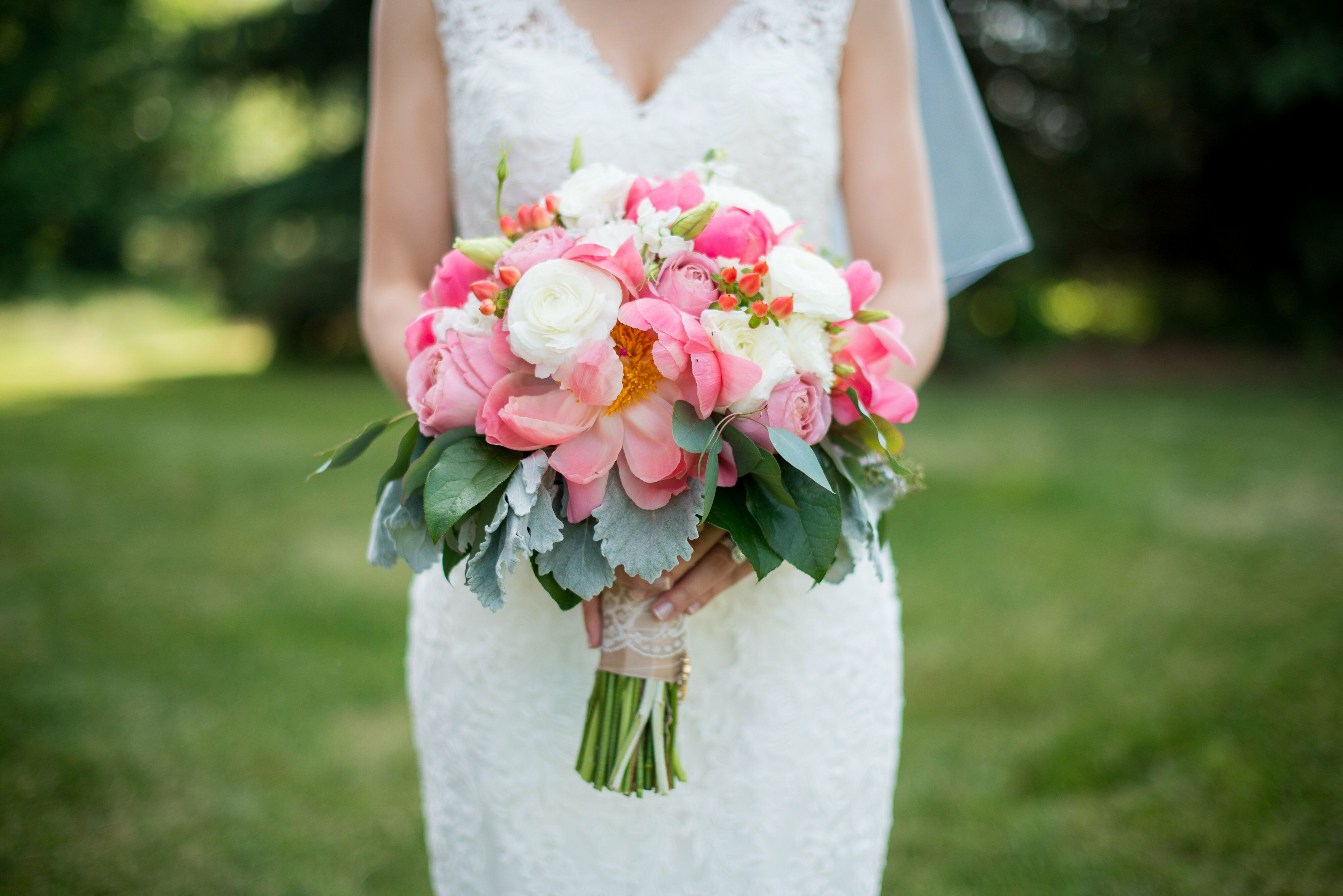 Peony Rose And Eucalyptus Bridal Bouquet