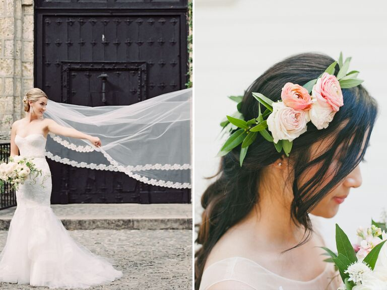 Bridal veil and flower crown trends