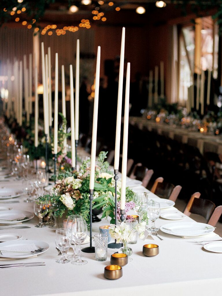 Elegant Wedding Centerpiece With Tall Candles