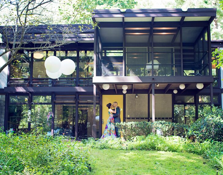 "The couple didn't have to search far for their dream wedding venue – they only had to go outside! ""We got married at our home in Kalamazoo,"" Natalie says. ""It was built in 1963 for a scientist at UpJohn and it's a small, mid-century home designed by Norman F. Carver Jr. inspired by his time in Japan."""