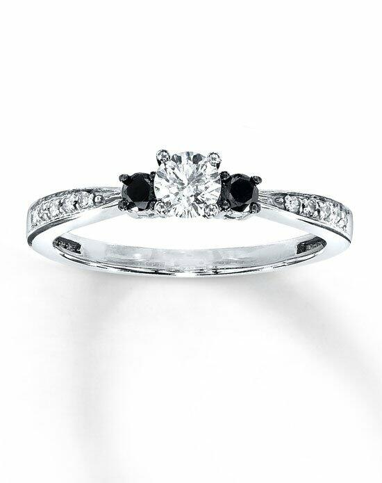 Artistry Diamonds 10kw 3/8cttw White and enhanced black diamond three stone ring Engagement Ring photo