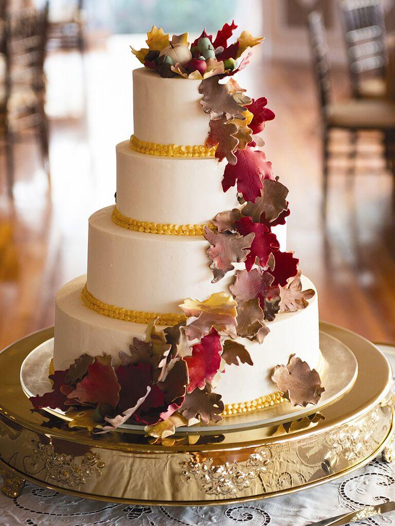 17 gorgeous fall wedding cakes fall wedding cake with fondant leaves junglespirit Choice Image