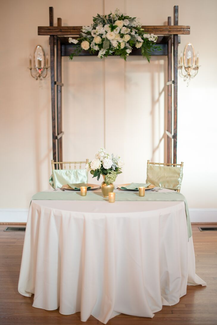 Sage and Ivory Sweetheart Table and Homemade Arch