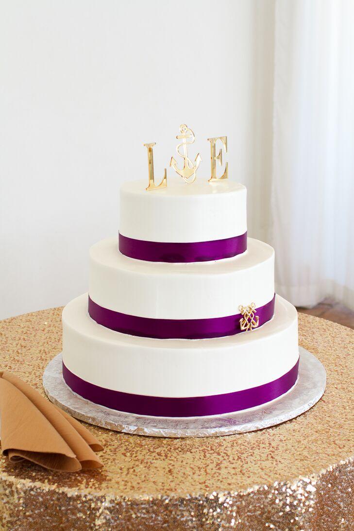 Purple Ribbon White Wedding Cake