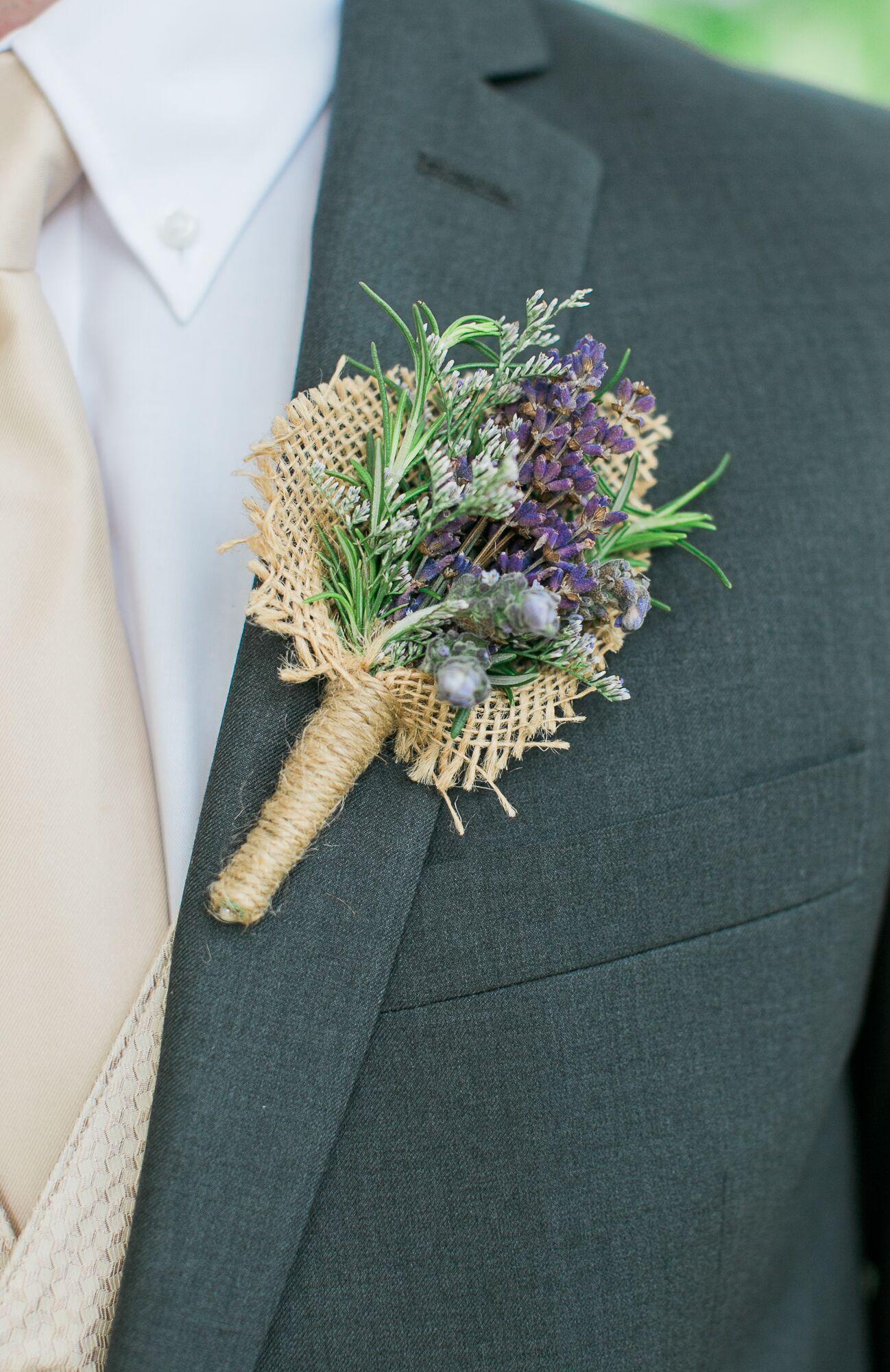 Lavender And Burlap Rustic Boutonniere