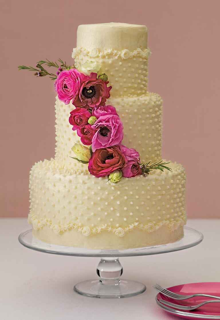Magnolia Bakery flowers and Swiss dot wedding cake