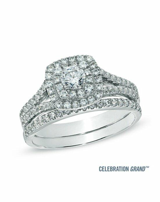 Celebration Diamond Collection at Zales Celebration Grand® 1 CT. T.W. Diamond Frame Bridal Set in 14K White Gold (H-I/I1)  19863158 Engagement Ring photo