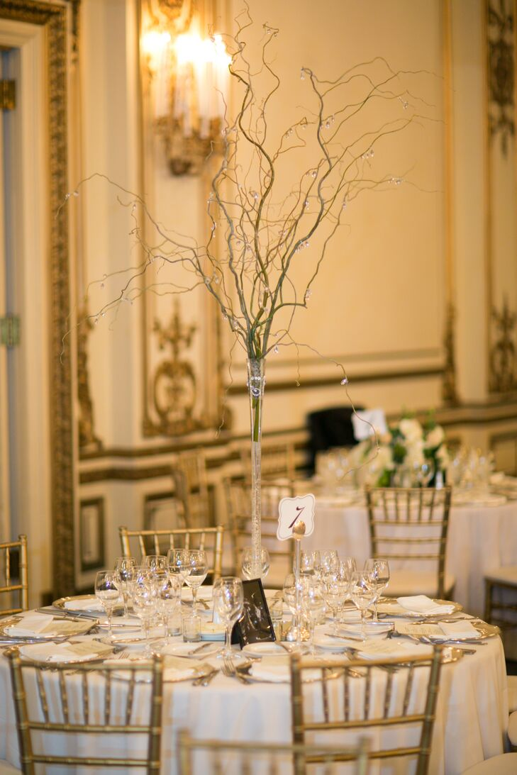 Beaded branch centerpiece dining tables