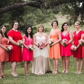 Red Pink Bridesmaid Dress