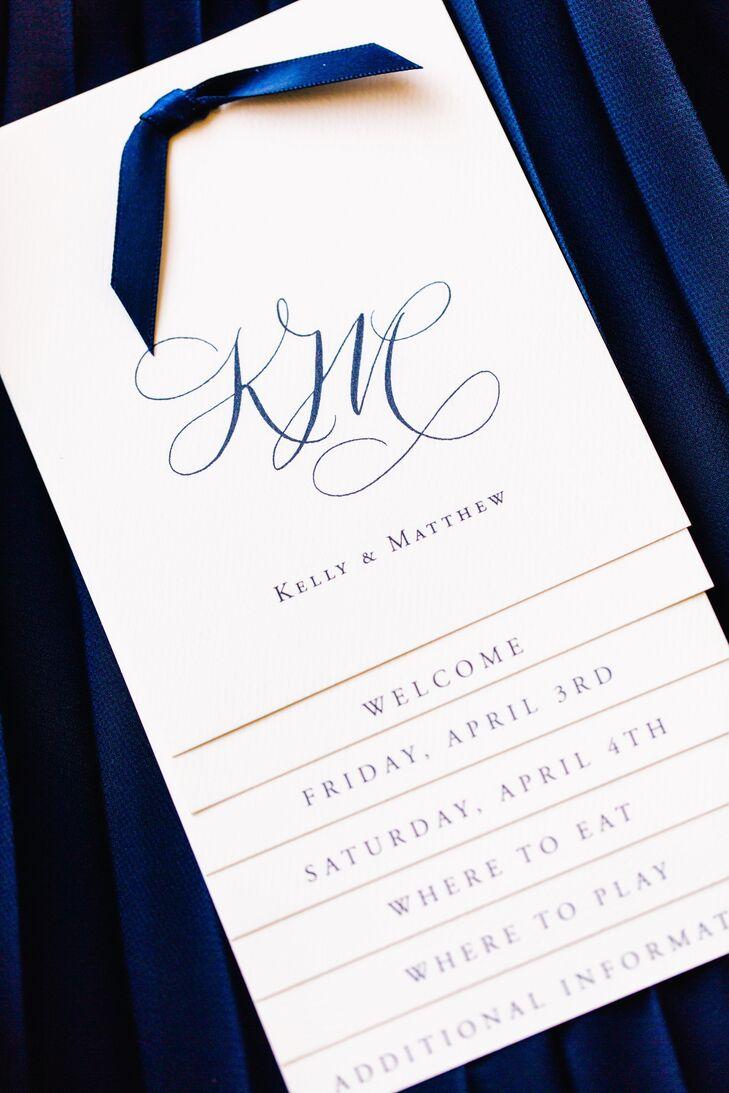 Blue and White Elegant Wedding Invitation
