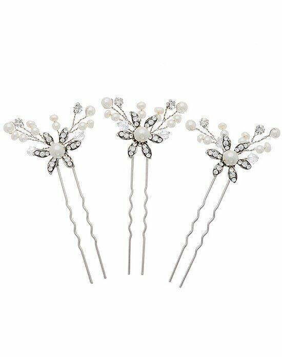 Thomas Laine Mercia Swarovski and Pearl Hair Pins - Set of 3 Wedding Pins, Combs + Clips photo