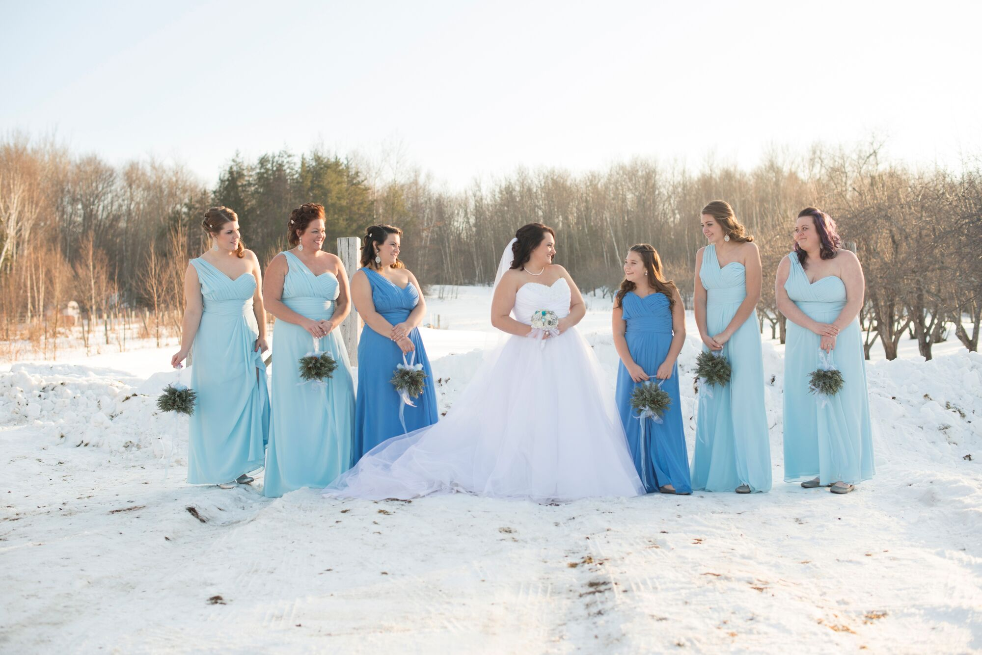 Bridesmaids in Arctic Blue and Periwinkle Dresses