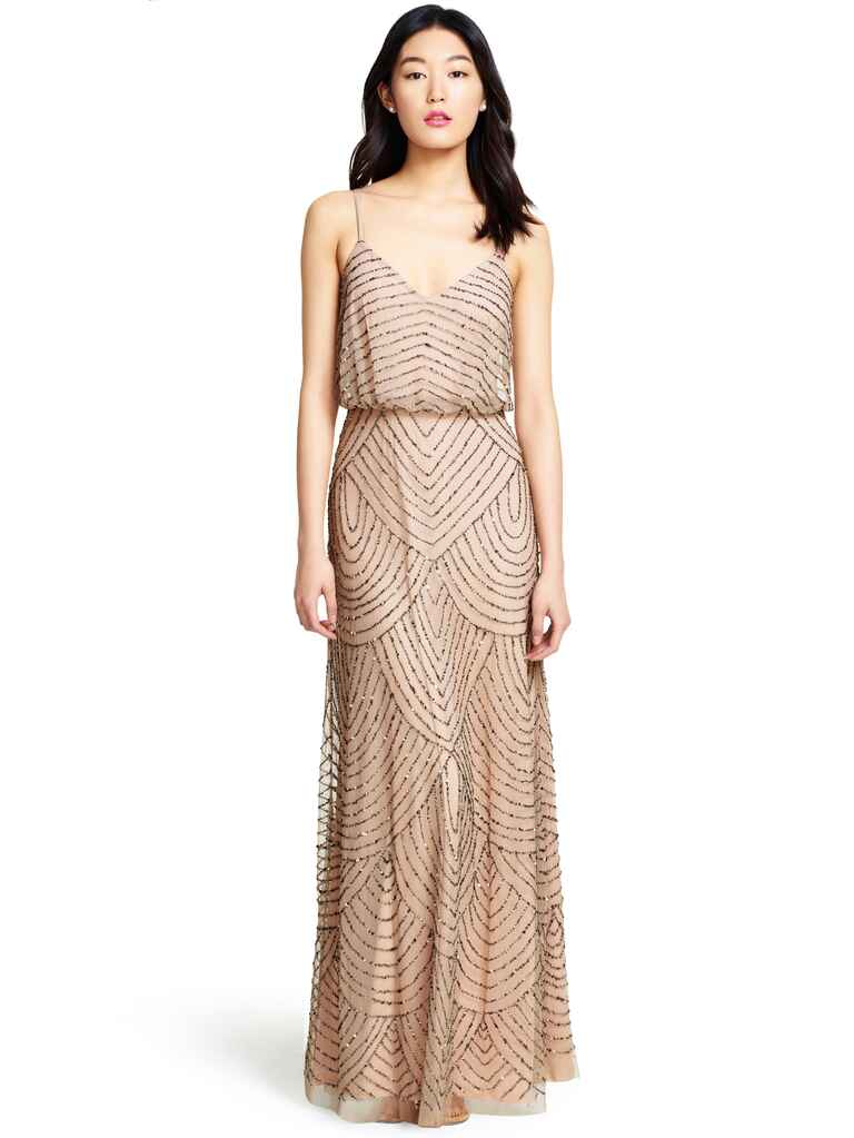 Adrianna Papell Eclipse dress in Taupe/Pink