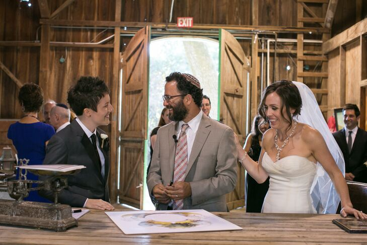 """We had a modern Reform Jewish ceremony, which included traditional Jewish blessings in both Hebrew and English. Prior to the ceremony, we had a Ketubah signing gathering in Annadel's barn in the presence of a small group of our family and closest friends,"" says Brooke."