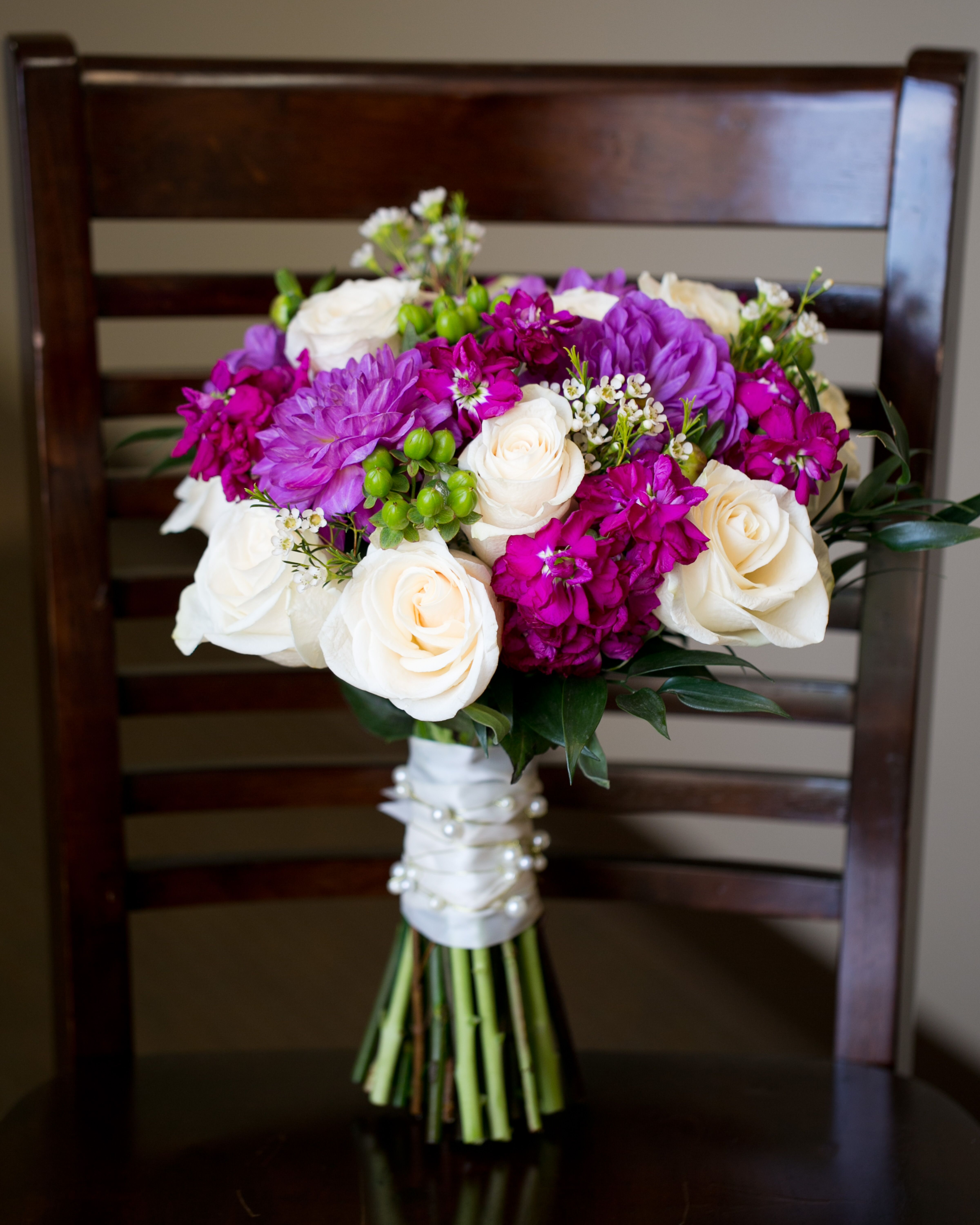 Ivory And Purple Flower Bouquet