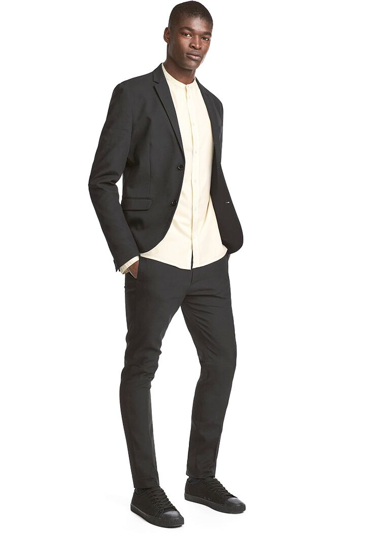 Black Suit Joggers Mens Casual Beach Wedding Attire
