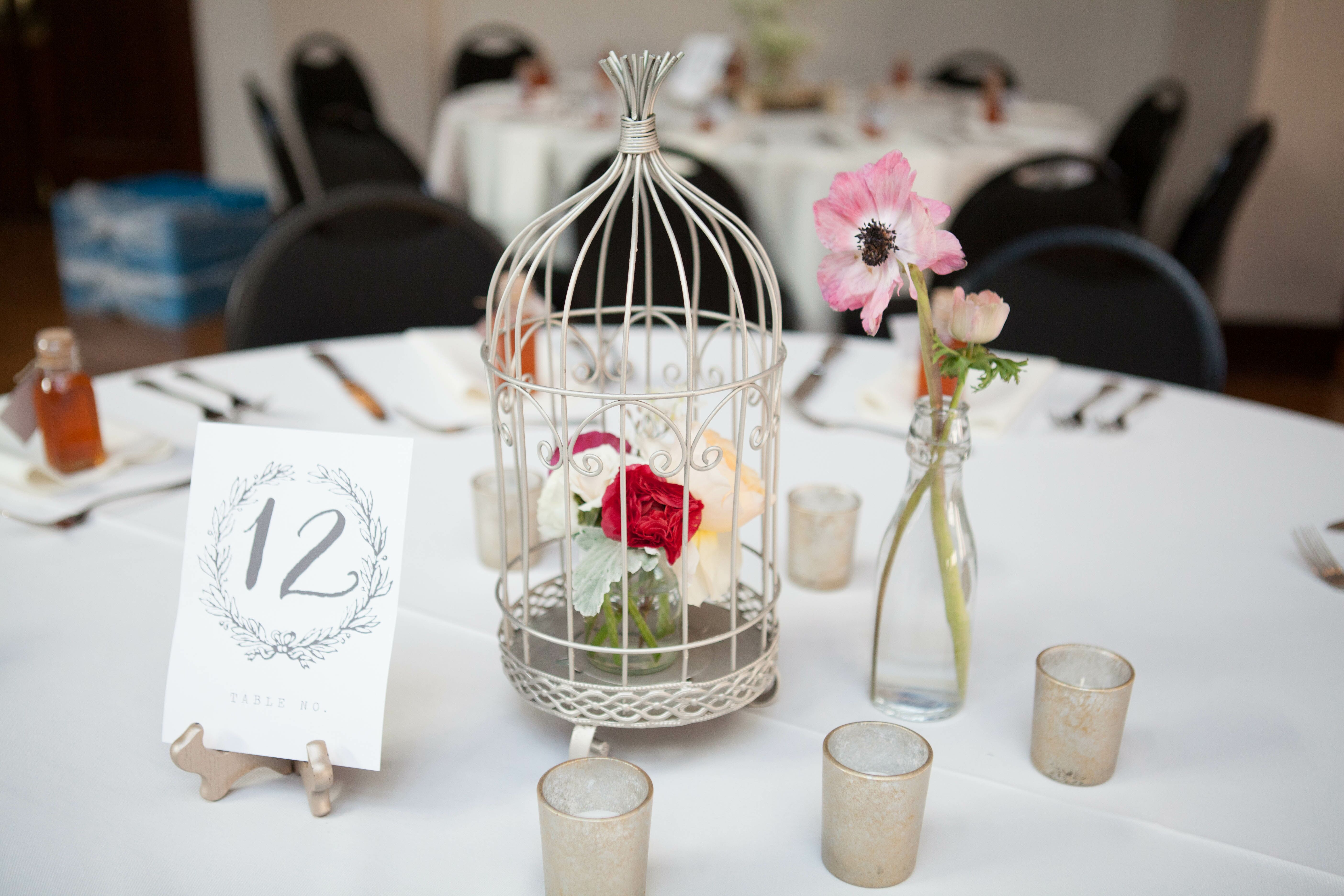 Flower-Filled Birdcage Centerpieces