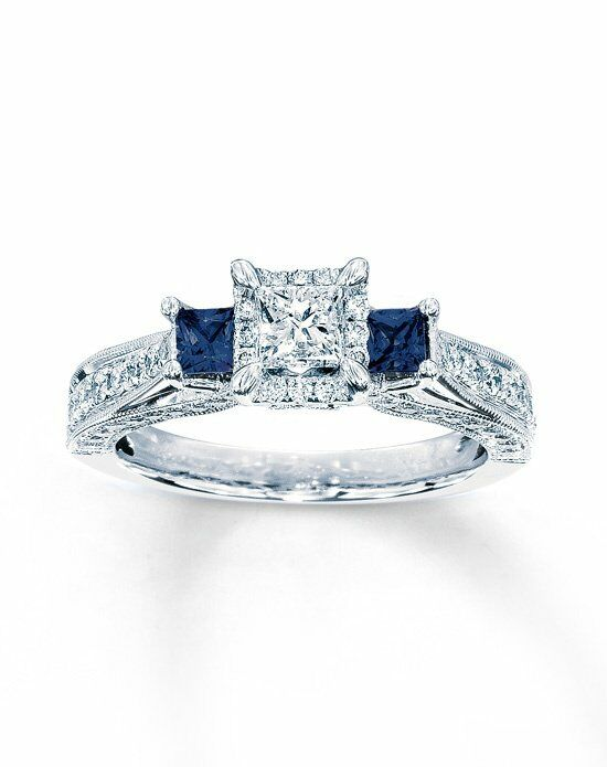 Kay Jewelers DIAMOND/SAPPHIRE RING 1 CT TW PRINCESS-CUT 14K WHITE GOLD Engagement Ring photo