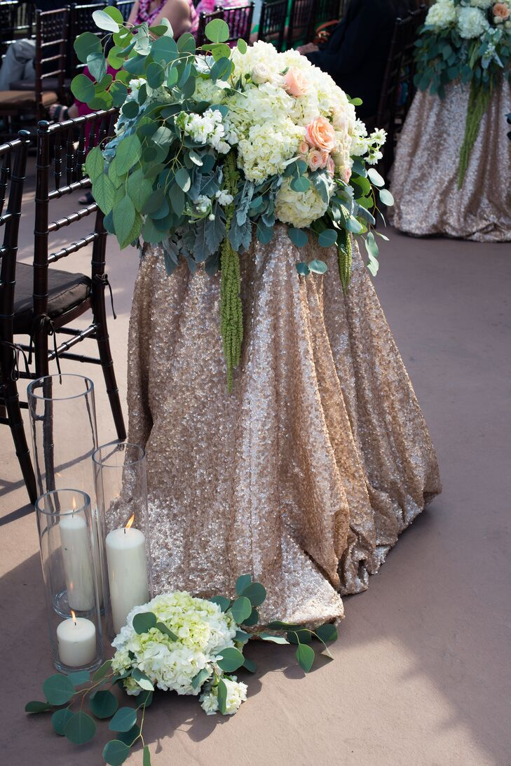 Hydrangea and Rose Gold Fabric Aisle Decor