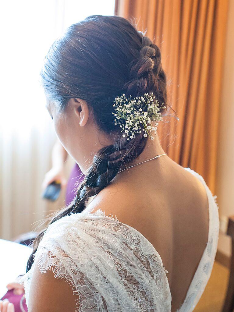 Dutch Braid Wedding Hairstyle For Long Hair With Babys Breath