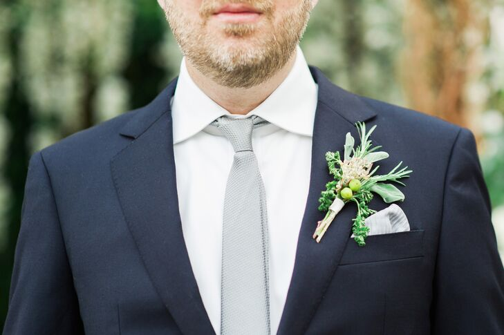 Green Eucalyptus and Hypericum Berry Boutonniere