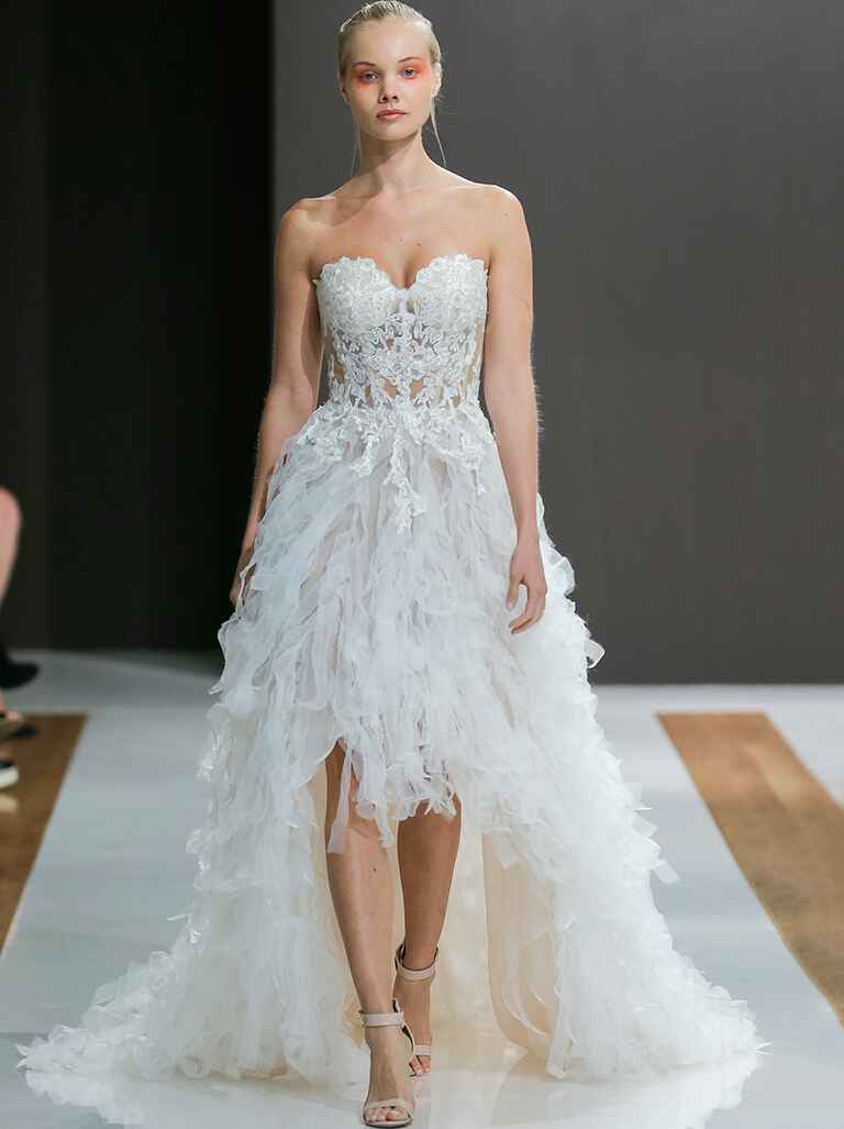 Sexy wedding dresses that rocked the runways watch high low wedding gown with corset top ombrellifo Image collections