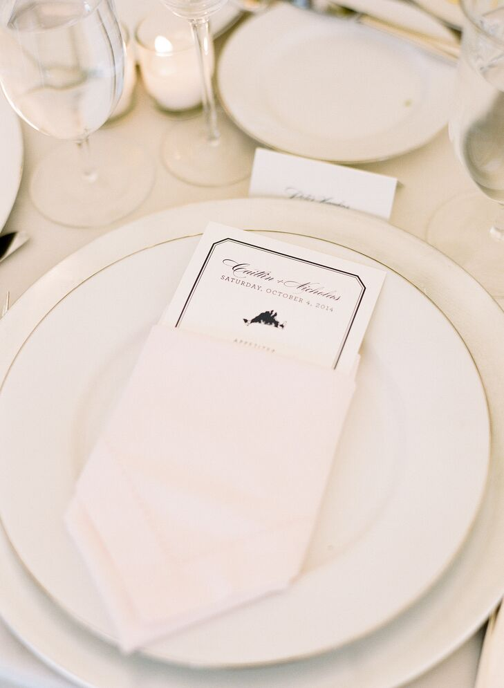 Traditional White Dinnerware and Formal Menus