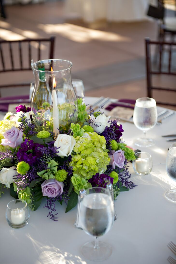 Purple green and white flower centerpieces izmirmasajfo