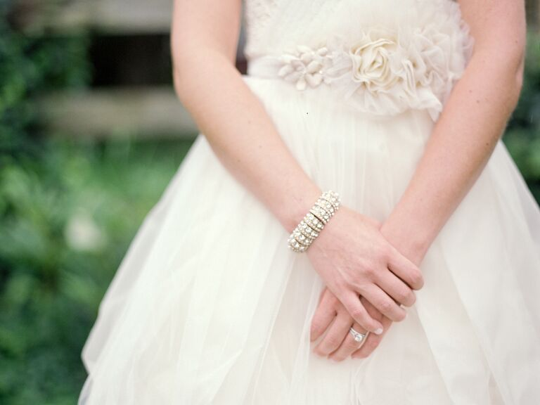 Ivory wedding dress with floral belt
