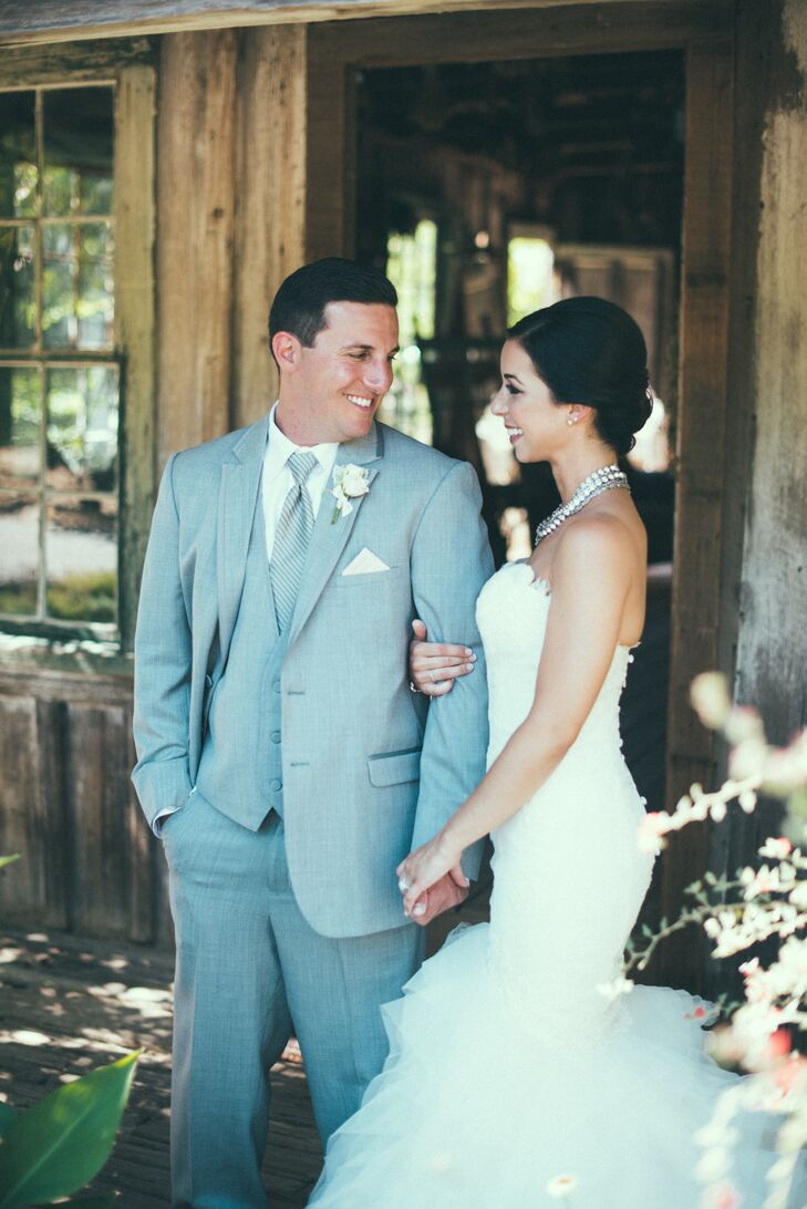 Groom in Light Grey Three Piece Suit