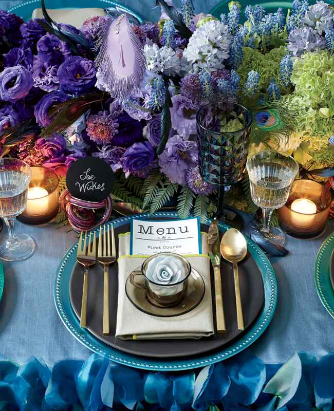 Sugar rose and peacock feather place setting | Philip Ficks | blog.theknot.com