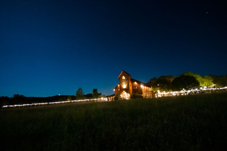 Following the outdoor ceremony, the barn at Old Glory Ranch in Wimberley, Texas, was a beautiful private space for Sarah and Bruce's 150 guests to dance the night away.